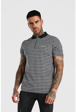 Black MAN Signature Dogtooth Jacquard Zip Polo
