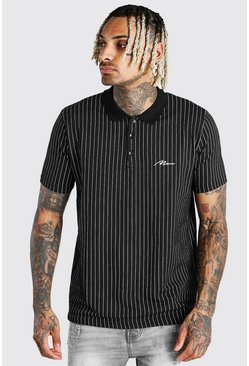 Black MAN Signature Vertical Stripe Polo