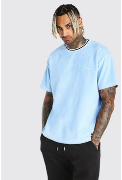 Pale blue MAN Signature Velour Oversized T-Shirt