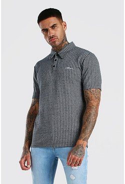 Black MAN Signature Jacquard Polo