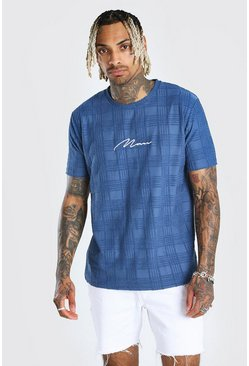 Blue Man Signature Tonal Jacquard Check T-Shirt