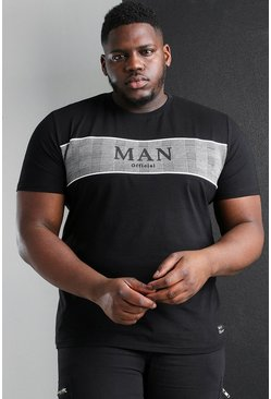 Black Big And Tall MAN Roman Jacquard Panel T-Shirt