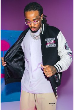 Black Quavo Varsity Jacket With Leather Sleeves