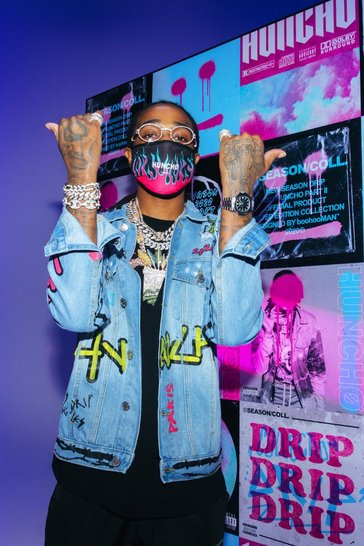 Blue Quavo Denim Jacket With Graffiti Print