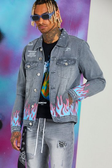 Grey Quavo Skull And Flame Denim Jacket