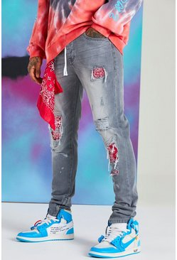 Grey Quavo Skinny Rigid Jean With Bandana Detail