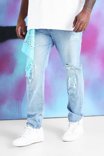 Blue Big And Tall Quavo Skinny Rigid Jean With Bandana