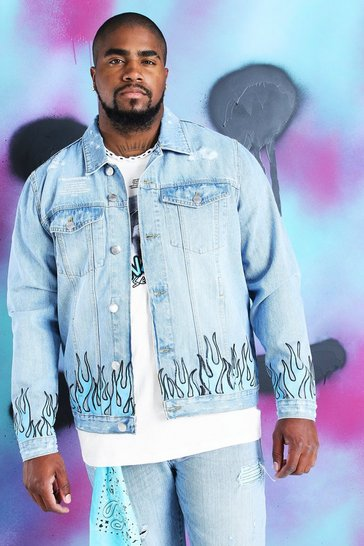 Blue Big And Tall Quavo Skull And Flame Denim Jacket