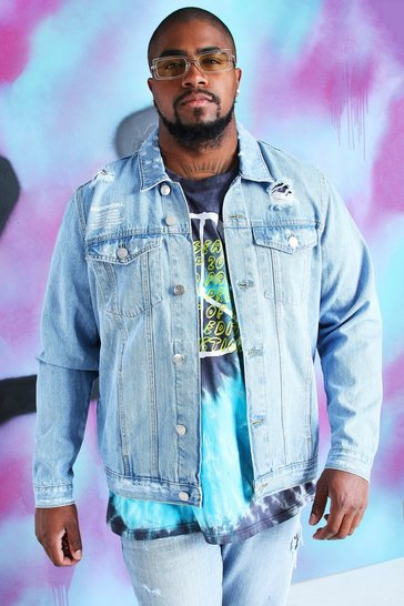 Blue Big And Tall Quavo Denim Jacket With Print