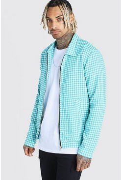 Turquoise Wool Look Houndstooth Harrington Jacket