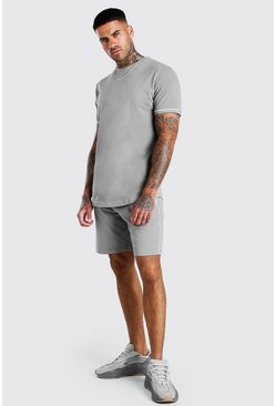 Dark grey Pique T-Shirt And Short Set With Piping