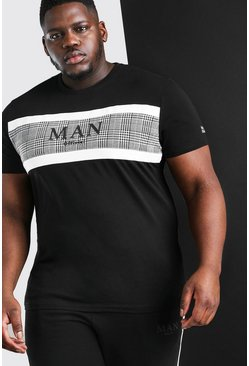 Black Big And Tall MAN Jacquard T-Shirt Jogger Set