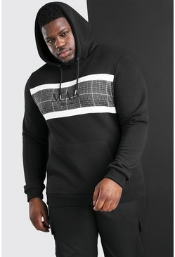 Black Big And Tall MAN Roman Jacquard Panel Hoodie