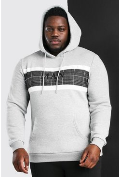 Grey Big And Tall MAN Roman Jacquard Panel Hoodie