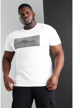 Camiseta de corte recto de jacquard romana MAN Big And Tall, Blanco