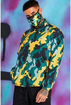 Yellow Quavo Camo Print Coach Jacket