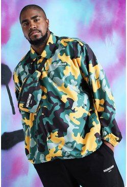 Big And Tall Quavo Camo Print Coach Jacket, Yellow