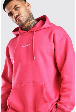 Coral Oversized Official MAN Front & Back Print Hoodie