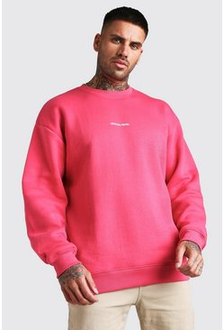 Coral Oversized MAN Front and Back Print Sweatshirt