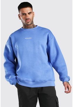 Blue Oversized Official Man Front & Back Print Sweatshirt