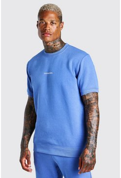 Blue Official MAN Front & Back Print Short Sleeve Sweat