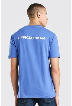 Blue Official Man Front & Back Print T-Shirt