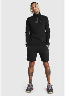 Black MAN Signature Half Zip Tape Short Tracksuit