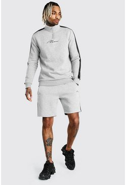 Grey marl MAN Signature Half Zip Tape Short Tracksuit