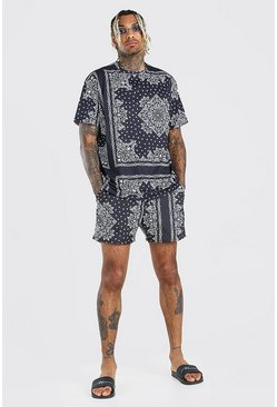 Black Loose Fit T-Shirt & Bandana Print Swim Short