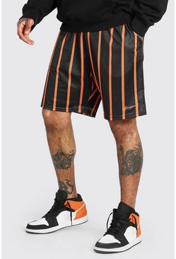 Orange Airtex Stripe Loose Fit Short With MAN Embroidery