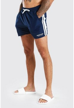 Shorts de shell con cinta MAN Official, Azul marino