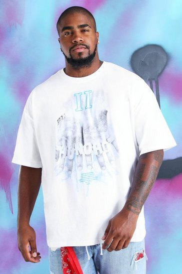 White Big And Tall Quavo Fingers Print T-Shirt
