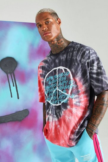 Pink Quavo Peace Sign Loose Fit Tie Dye T-Shirt