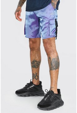 Purple MAN Iridescent Shell Cargo Shorts With Buckles
