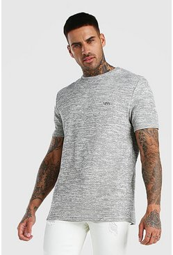 Grey Smart Jacquard T-Shirt With Woven Badge