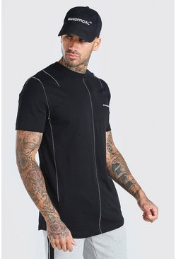 Black MAN offical Longline T-Shirt With Seam Detail