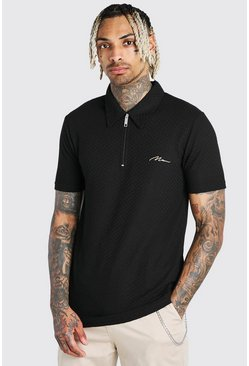 Black Muscle Fit MAN Signature Jacquard Zip Polo