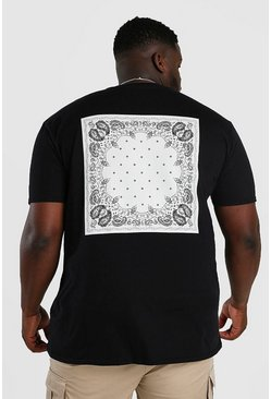 Black Big And Tall MAN Bandana Back Print T-Shirt