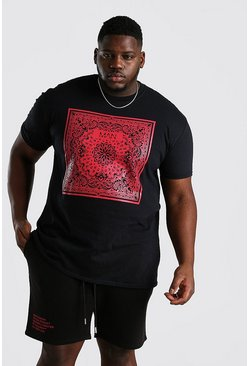Black Big And Tall Original MAN Bandana Print T-Shirt