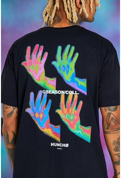 Black Quavo Oversized Back Hand Print T-Shirt