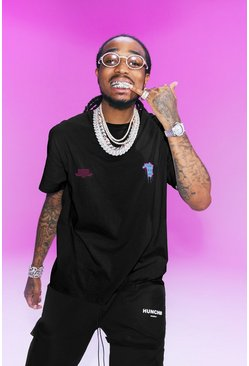 Quavo Oversized T-Shirt With Drip Face, Black
