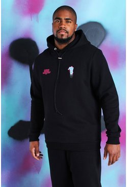 "Big And Tall Quavo Loose-Fit Hoodie mit ""Drip Face""-Motiv, Schwarz"