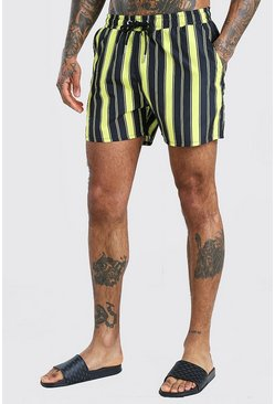 Yellow Mid Length Stripe Swim Shorts