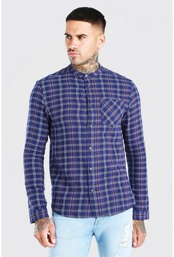 Long Sleeve Grandad Collar Check Shirt, Navy