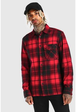 Red Long Sleeve Checked Shirt