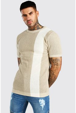 Mushroom Colour Block Knitted T-Shirt