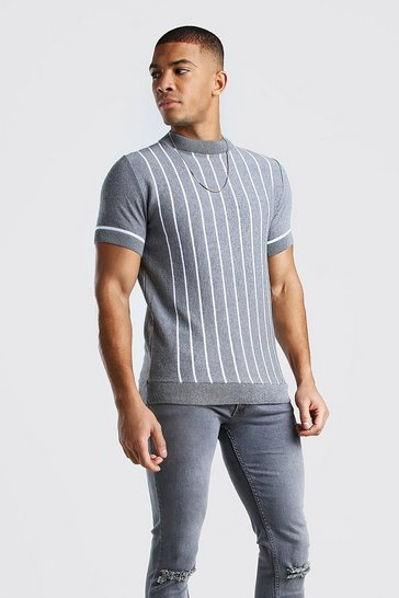 Grey Turtle Neck Striped Knitted T-Shirt