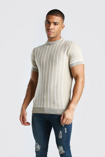 Camel Turtle Neck Striped Knitted T-Shirt