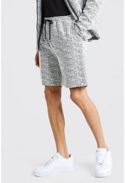 White Boucle Pintuck Shorts