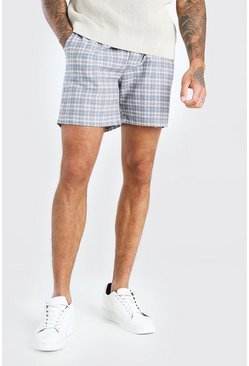 Light blue Skinny Fit Check Smart Short